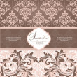 Stock vektor: Pink vintage damask invitation card