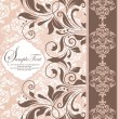 Pink vintage damask invitation card — Vector de stock #7989160
