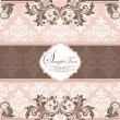 Pink vintage damask invitation card — Vector de stock #7989198