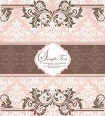 Cartão do convite do damasco vintage rosa — Vetorial Stock