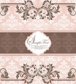 Pink vintage damask invitation card — Stockvector