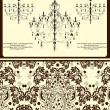 Invitation vintage card with floral ornament and chandelier — Image vectorielle