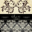 Vintage damask invitation card — Stock Vector