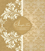 Vintage damask invitation card — Vector de stock