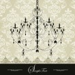 Invitation vintage card with floral ornament and chandelier - Imagen vectorial
