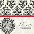 INVITATION CARD ON FLORAL BACKGROUND WITH PLACE FOR TEXT — Imagens vectoriais em stock