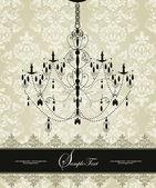винтажная открытка приглашение с цветочным орнаментом и люстра — Cтоковый вектор