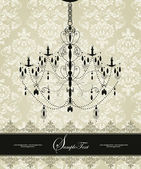 Invitation vintage card with floral ornament and chandelier — Stok Vektör