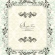 Vector de stock : Invitation vintage card with floral ornament
