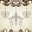 Invitation vintage card with floral ornament and chandelier — 图库矢量图片