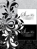Tarjeta de invitación sobre fondo floral — Vector de stock
