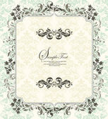 Invitation vintage card with floral ornament — Vettoriale Stock
