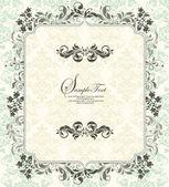 Tarjeta de invitación de vendimia con ornamento floral — Vector de stock