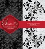 Uitnodigingskaart op floral achtergrond met plaats voor tekst — Stockvector