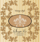 Vector vintage styled card with floral ornament background — Vettoriale Stock