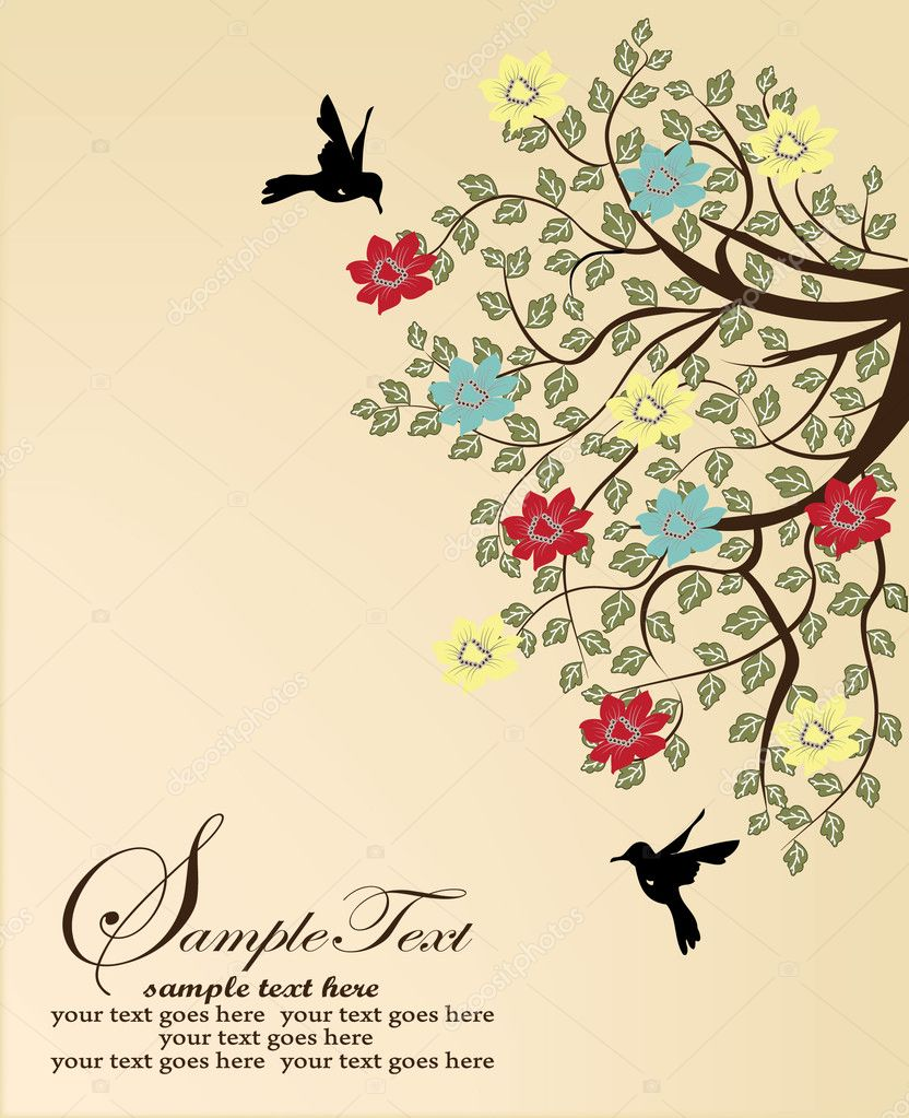 Tree branch and birds — Stock Vector #8780889