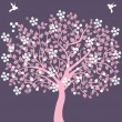Pink tree with flowers and birds — Stock Vector