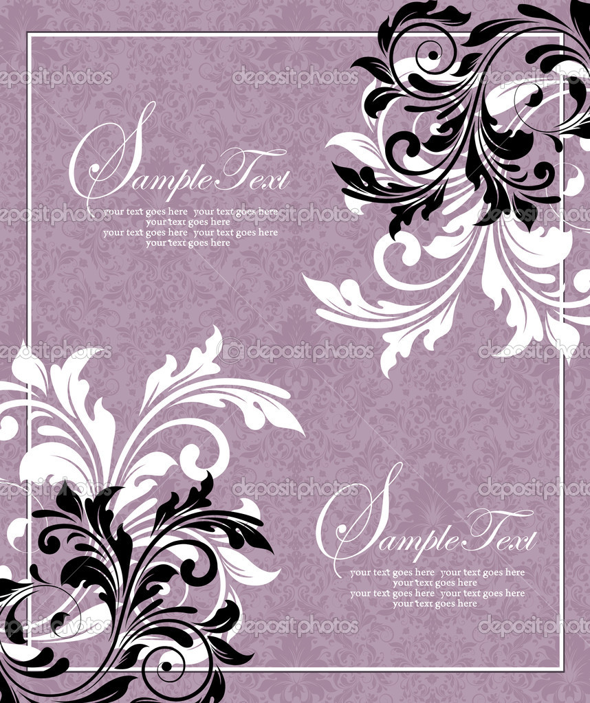 Floral invitation card  Stock Vector #9107998
