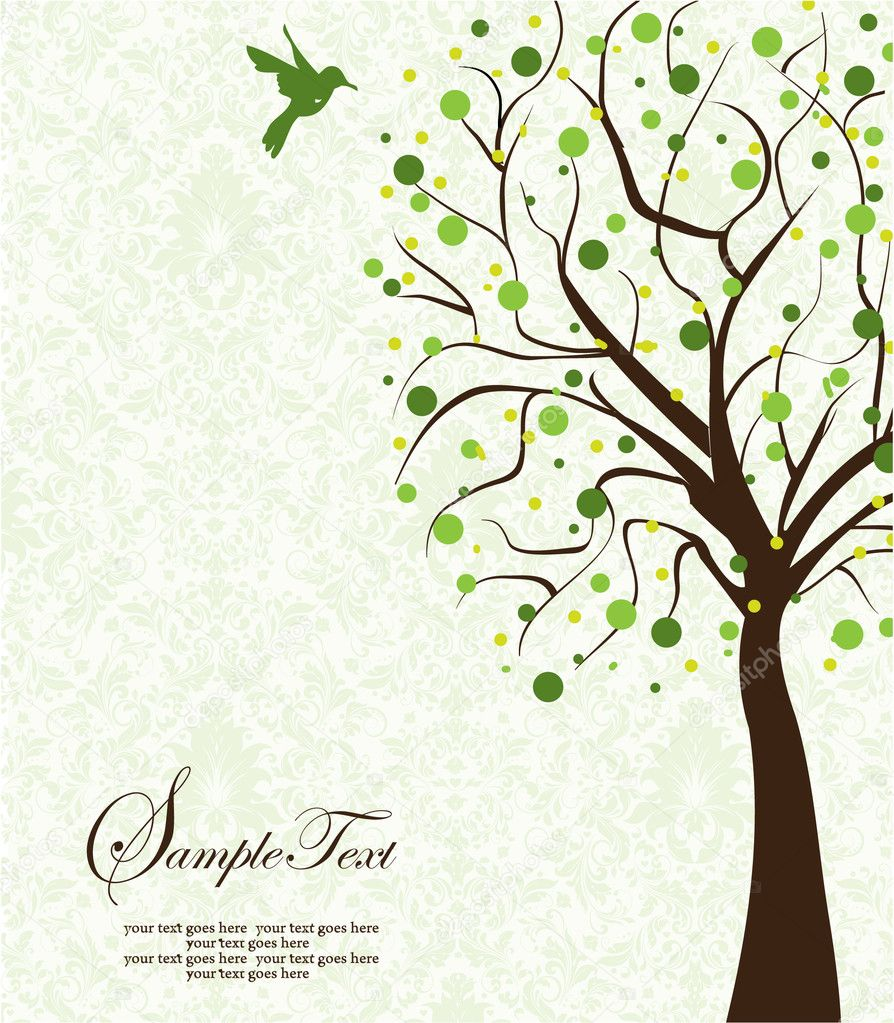 Tree silhouette on damask background  Stock Vector #9108033