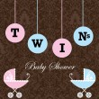 Stock vektor: Twins Baby Shower Invitation