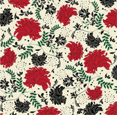 Floral seamless pattern with red and black elements — Stock Vector