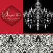 Romantic Invitation Card Design With Chandelier — Image vectorielle