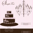 Invitation card with cake on floral background - Vettoriali Stock