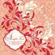 Red vintage damask invitation card — Stock Vector