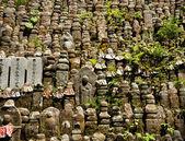 Rows of jizo statues — Stock Photo