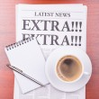 The newspaper EXTRA! EXTRA! and coffee — Stock Photo