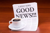 The newspaper LATEST NEWSwith the headline GOOD NEWS!!! — Stock Photo