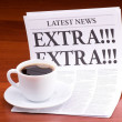 The newspaper LATEST NEWS with the headline EXTRA! EXTRA! — Stock Photo