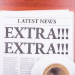 Stock Photo: The newspaper EXTRA! EXTRA! and coffee
