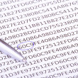 Abstract hexadecimal code and pen — Stock Photo