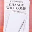 The newspaper CHANGE WILL COME — Stock Photo