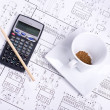 Stock Photo: Calculator, pancil and cup of coffee