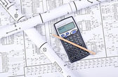 Blueprint crosswise and calculator — Stock Photo