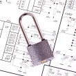 Padlock on the drawing electrical circuit — Stock Photo
