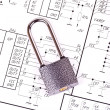 Stock Photo: Padlock on the drawing electrical circuit