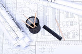 Blueprint, basket, ruler and pencil — Stock Photo