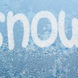 Frost pattern and word SNOW — Stock Photo