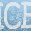 Frost pattern and word ICE — Stockfoto