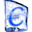 Sign EURO frozen in the ice — Stock Photo