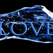 Word LOVE frozen in the ice — Foto Stock