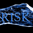 Word RISK frozen in the ice — Stockfoto