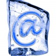 Sign e-mail frozen in the ice — Stock Photo