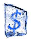 Sign dollar frozen in the ice — Stock Photo