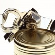 Can with can opener — Stock Photo