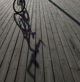 Bicycle at the pier — Stock Photo