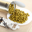 Can with canned, tinned peas, — Lizenzfreies Foto
